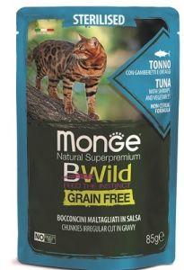 Monge Cat BWild Grain Free паучи из тунца с креветками и овощами (зеленая фасоль и морковь) для стерилизованных кошек