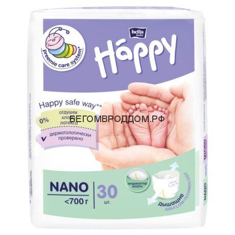 Подгузники для маловесных малышей Bella Happy NANO (<700 гр) 30 шт