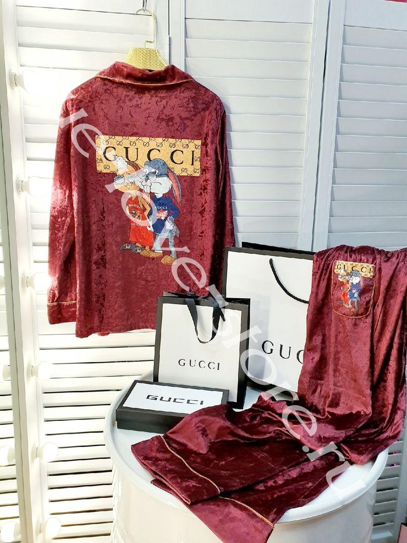 720196-3- Цена за 3 шт, Пижама двойка GUCCI (Бархат)