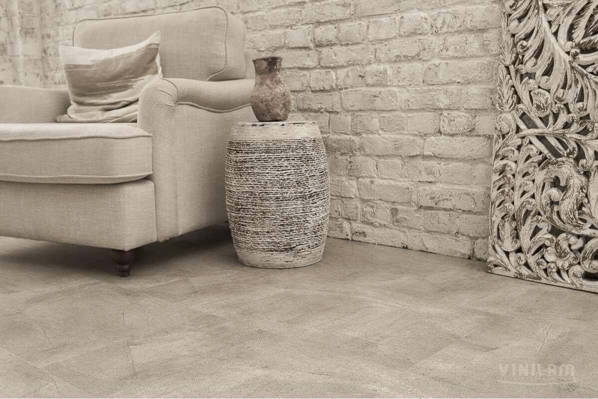 Виниловый ламинат Ceramo Vinilam Stone 5 мм Бетонная смесь 61603
