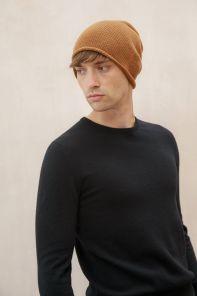"""Кашемировая мягкая классическая тонкая шапка-бини """"Джерси""""  ,Темный верблюжий  цвет Jersey Hat DARK CAMEL"""