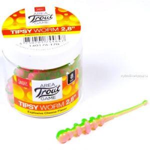 Слаг съедобный Lucky John Pro Series Tipsy Worm 2,3 58 мм / упаковка 12 шт / цвет: T70
