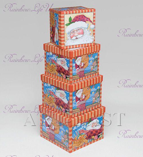 """Коробки подарочные 4 шт """"Дед Мороз"""""""