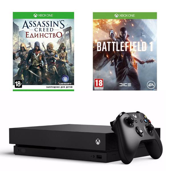 Игровая приставка Microsoft Xbox One X 1 ТБ + Battlefield 1 + Assassin's Creed Единство