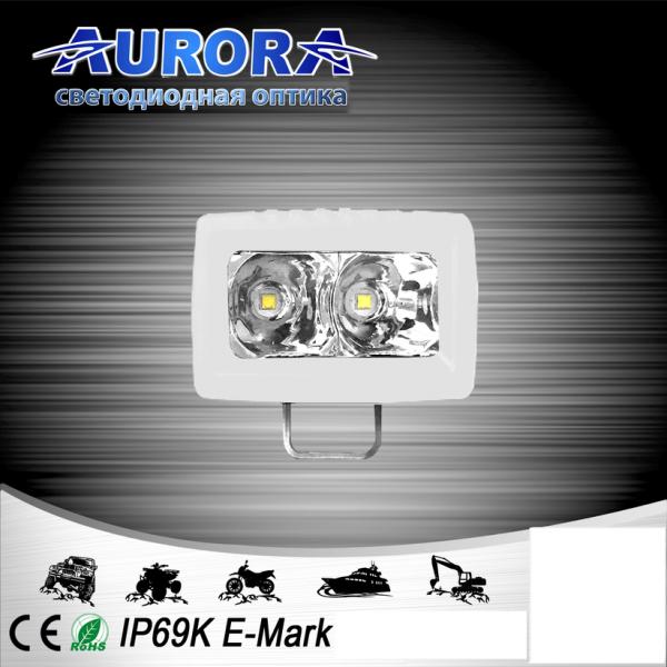 Прямоугольная светодиодная фара рассеянного свечения 10W AURORA ALO-M-L-2-E7J (белый корпус)