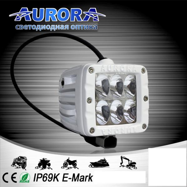 Квадратная светодиодная фара водительского света 30W AURORA ALO-M-2-D1C (белый корпус)