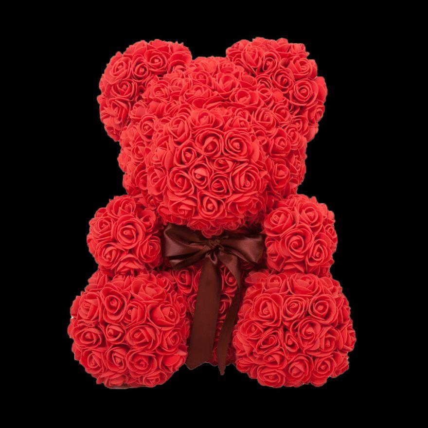 Мишка из роз с бантиком 3D 40 см красный