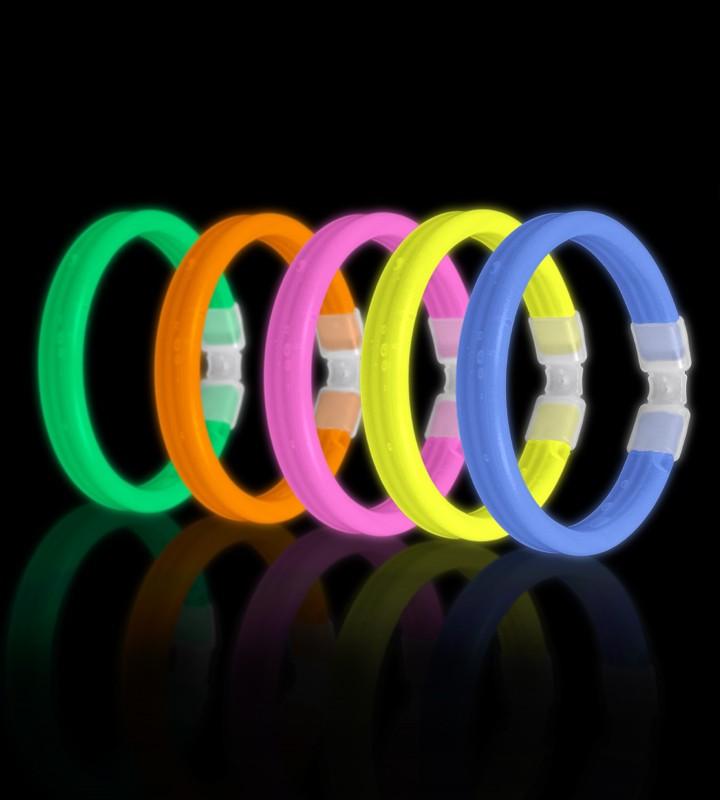 Тройной широкий светящийся браслет Triple Wide Glow Bracelet (Желтый)