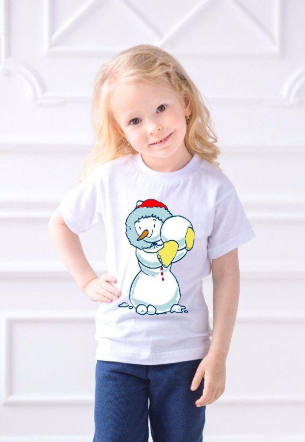 Снеговик футболка детская для девочки