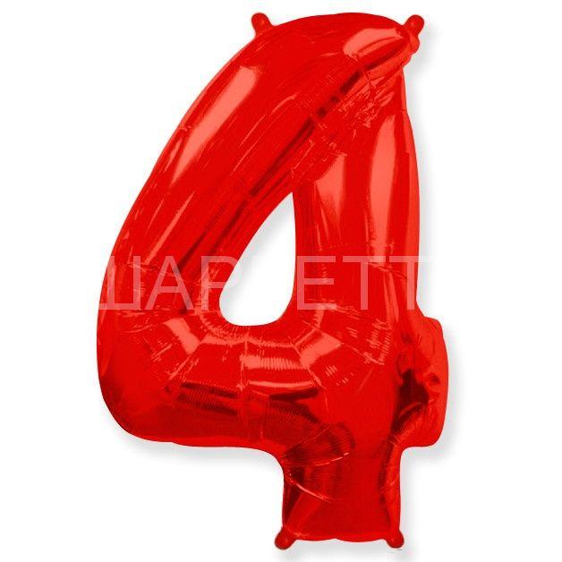 """Цифра """"4"""" красный"""