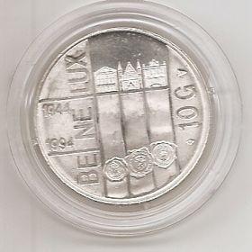 50 лет основания Бенилюкс 10 гульденов Нидерланды 1994 серебро