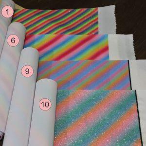 `Искусственная кожа(PU, кожзам), глиттер, радуга, толщина 0,55мм, размер A4(22*30см)