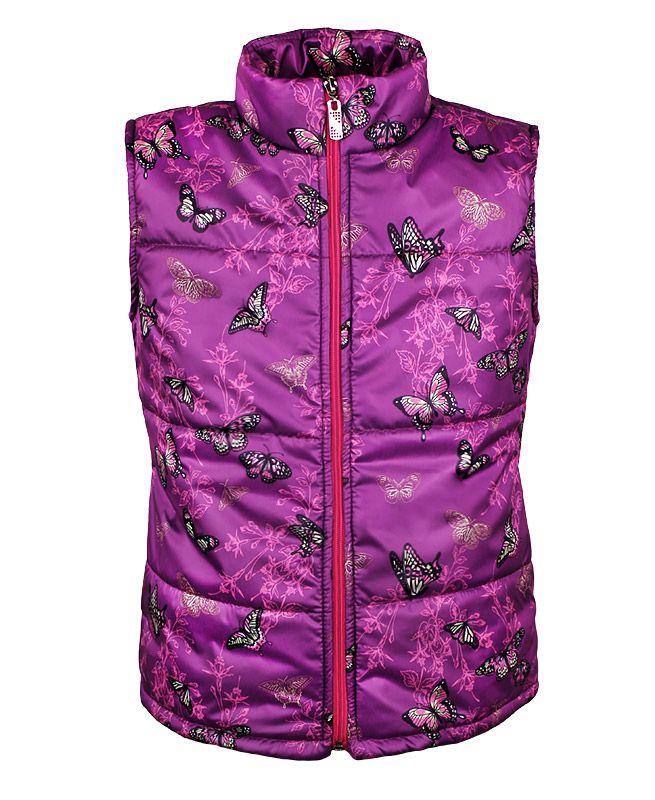 Пурпурный теплый жилет для девочки