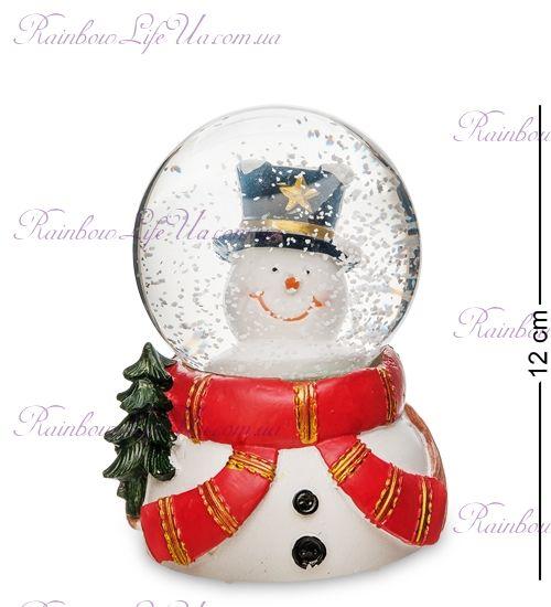 "Шар со снегом муз. с подсветкой ""Снеговик с шарфом"""