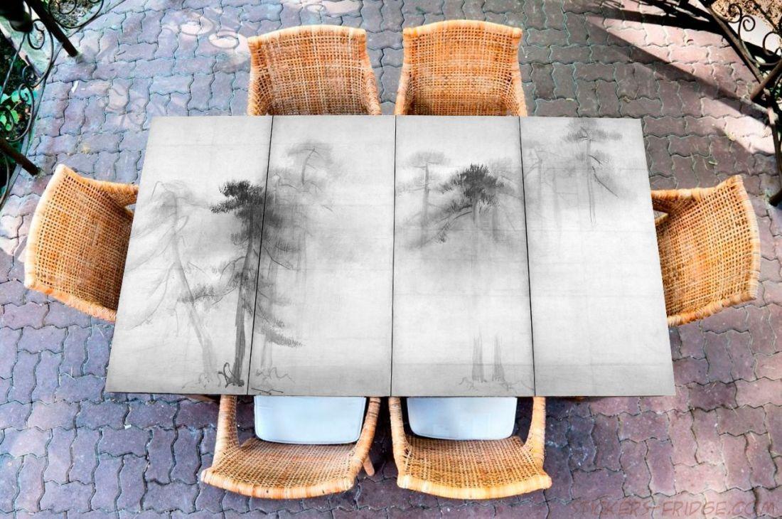 Наклейка на стол - Сосновый лес