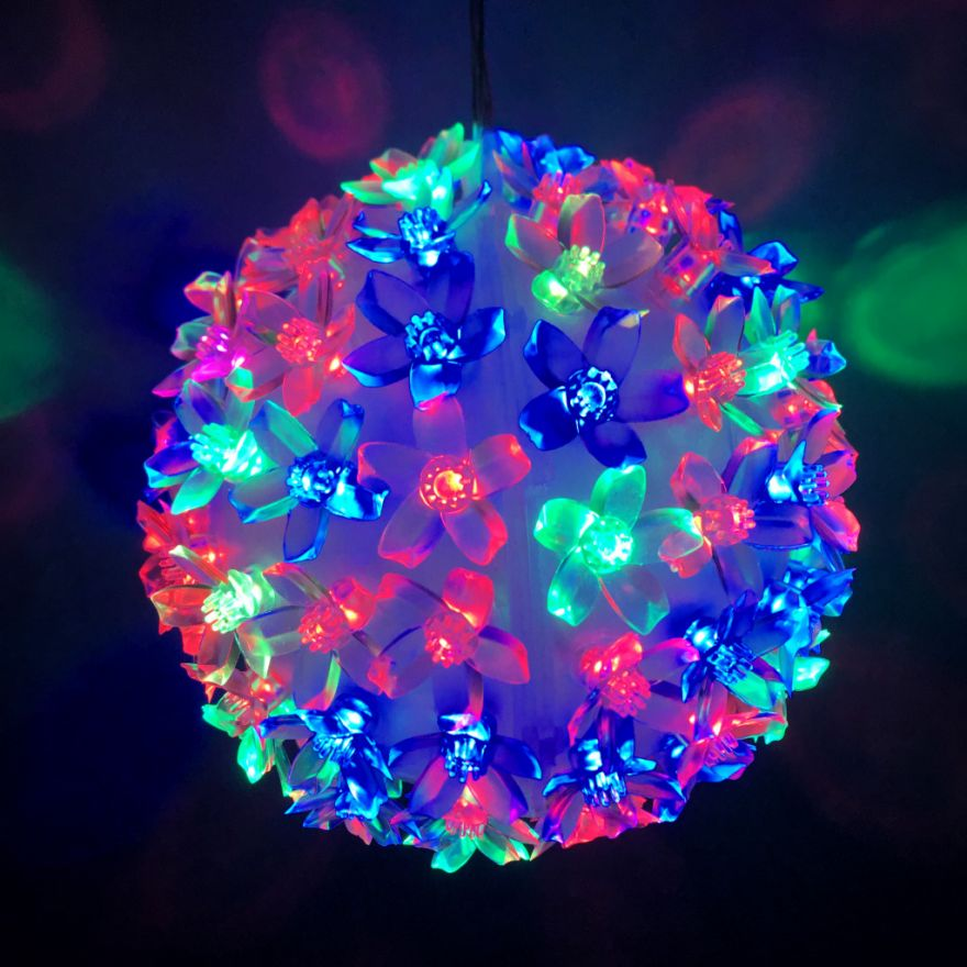Эксклюзивный светодиодный LED шар с лампами в виде цветов Led Light (Лампочек 500 шт, диаметр 32 см)