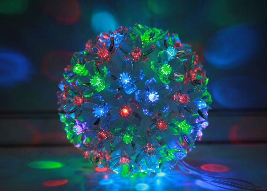 Эксклюзивный светодиодный LED шар с лампами в виде цветов Led Light (Лампочек 200 шт, диаметр 18 см)