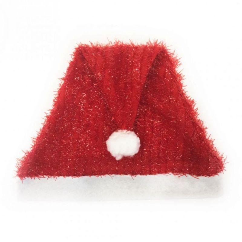 Новогодний колпак с эффектом мишуры, красный