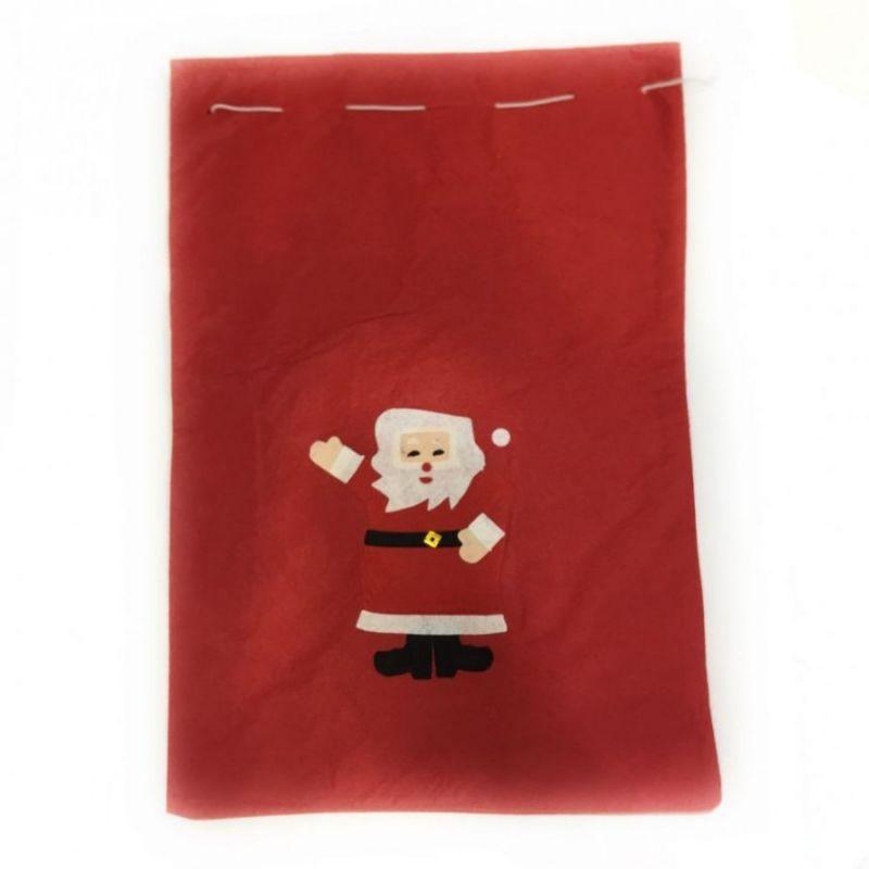 Новогодний мешок для подарков, 30х20 см, Аппликация Дед Мороз
