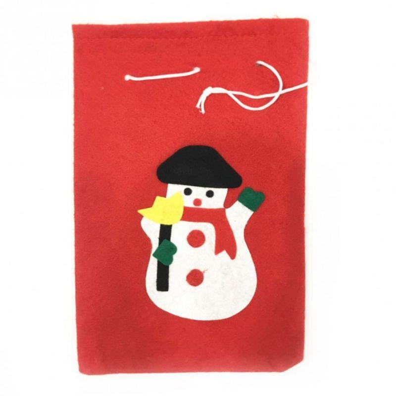 Новогодний мешок для подарков, 50х70 см, Аппликация Снеговик