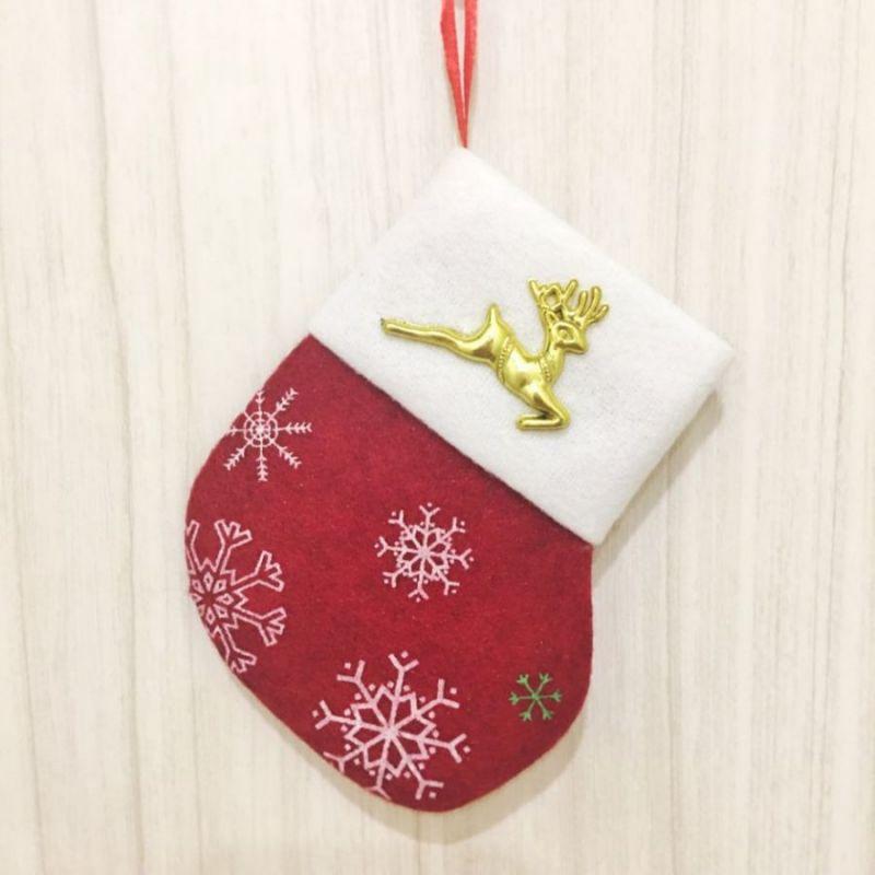Новогодняя подвеска Носок для подарков, Красный с Оленем