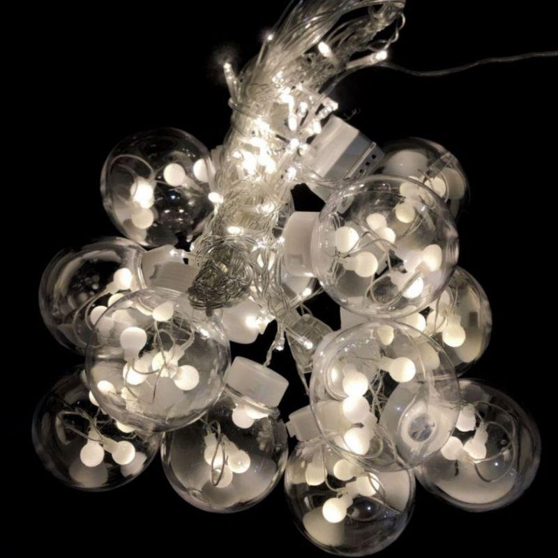 Светодиодная гирлянда-штора в виде ламп, свечение белое холодное