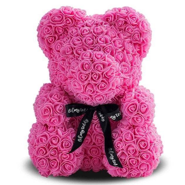 Мишка из роз 40 см, цвет розовый