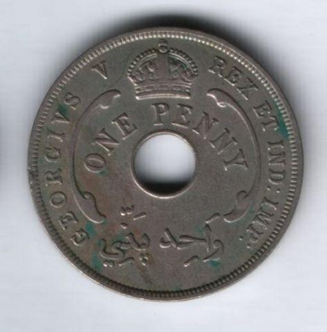 1 пенни 1929 года Западная Африка, редкий год