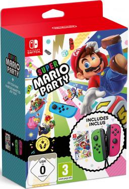 Nintendo Joy-Con controllers (nintendo switch) Neon Green/Neon Pink + игра Super Mario Party (Nintendo Switch)