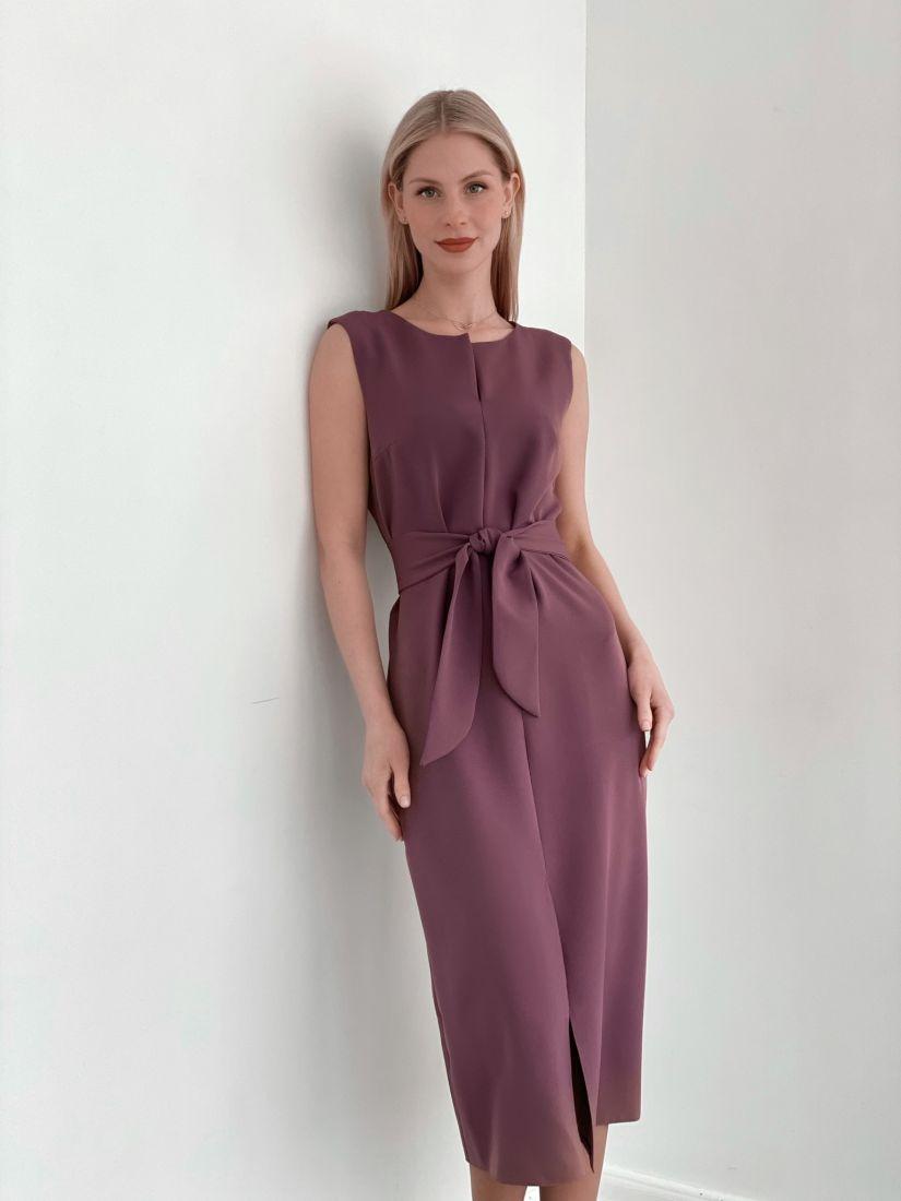 """s3762 Платье """"миди"""" с разрезом серо-лиловое"""