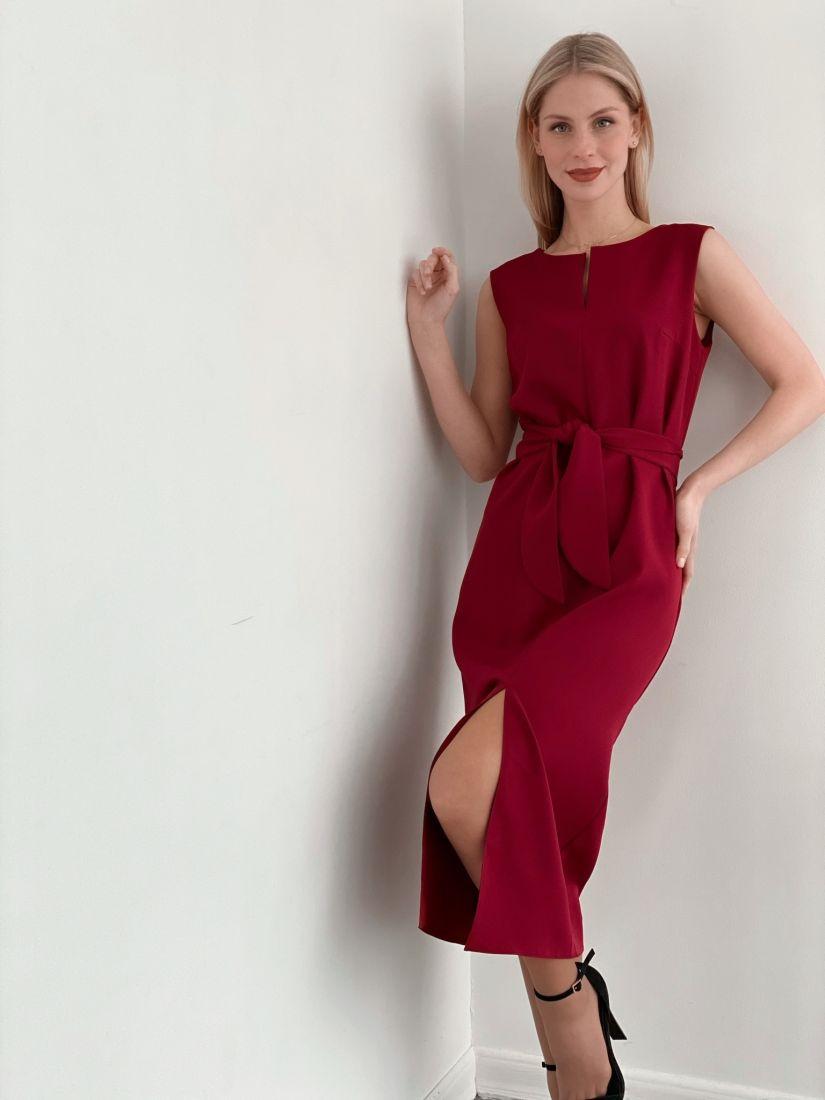 3717 Платье базовое бордовое - бестселлер
