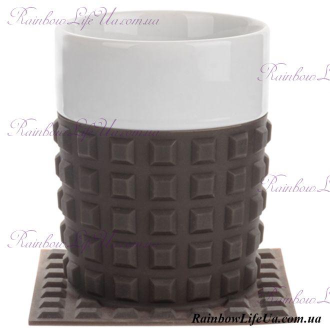 """Чашка с силиконовой подставкой 350 мл """"Lefard"""" черная"""