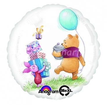Винни Пух и Пятачок идут на праздник круглый шар фольгированный с гелием
