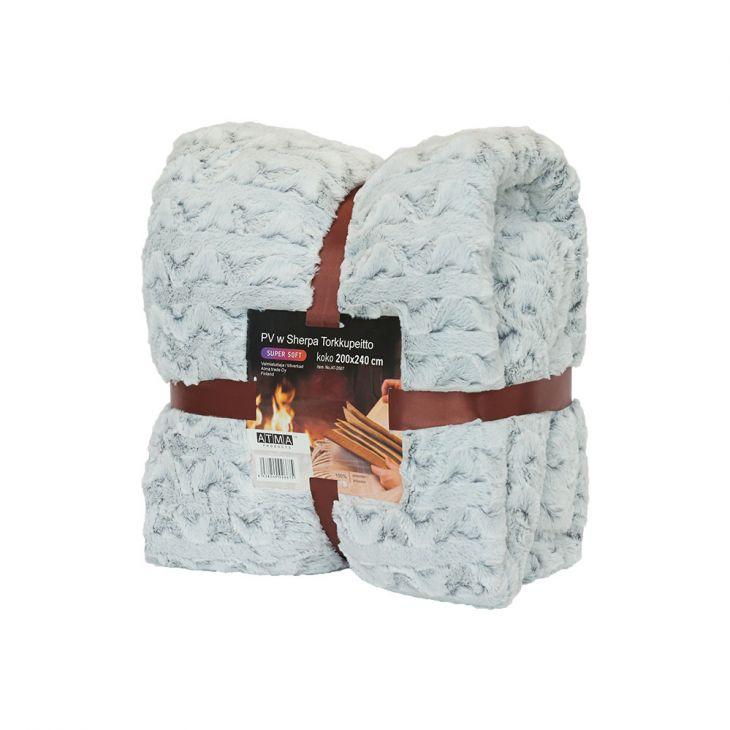 Плед SHERPA Blanket 200х240 см white/gray