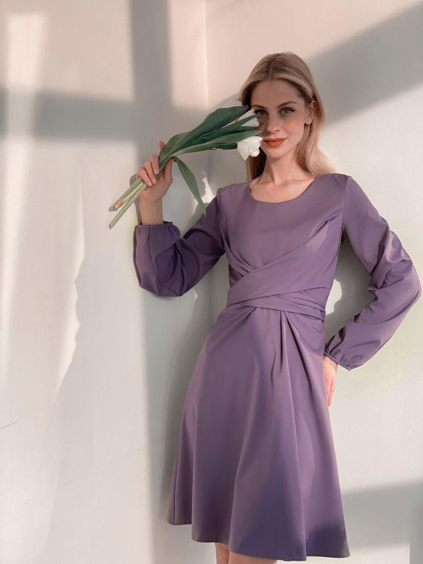 s3767 Платье с перекрутами в цвете smoky lilac