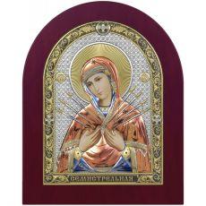 Семистрельная икона БМ цветная эмаль с деревянной рамкой