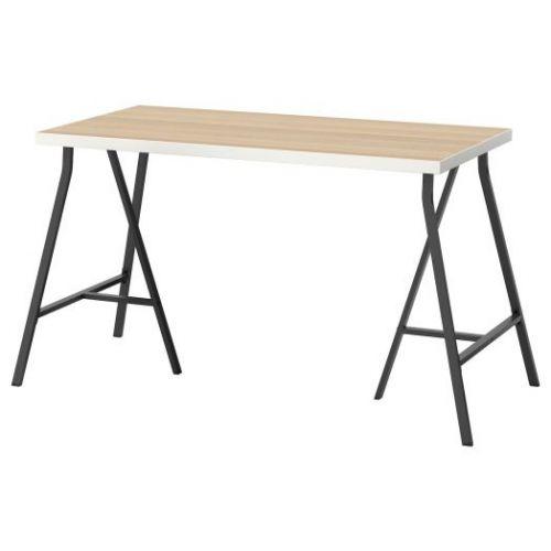 LINNMON ЛИННМОН / LERBERG ЛЕРБЕРГ, Стол, белый под беленый дуб/серый, 120x60 см - 593.047.59