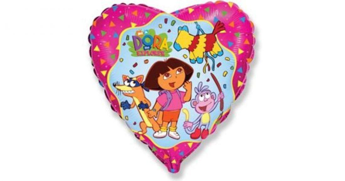 Даша путешественница шар сердце фольгированный с гелием