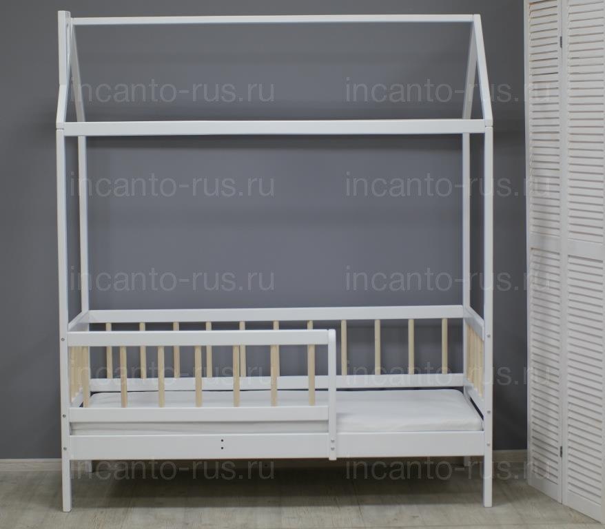 Кровать «Скандинавия» цвет белый с натуральными ламелями Детская кроватка