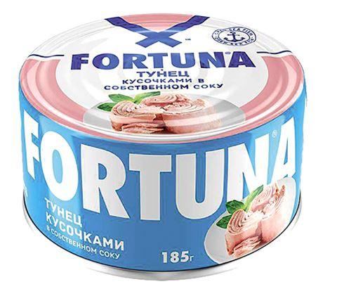 Тунец кусочками  в собственном соку, 185г, FORTUNA