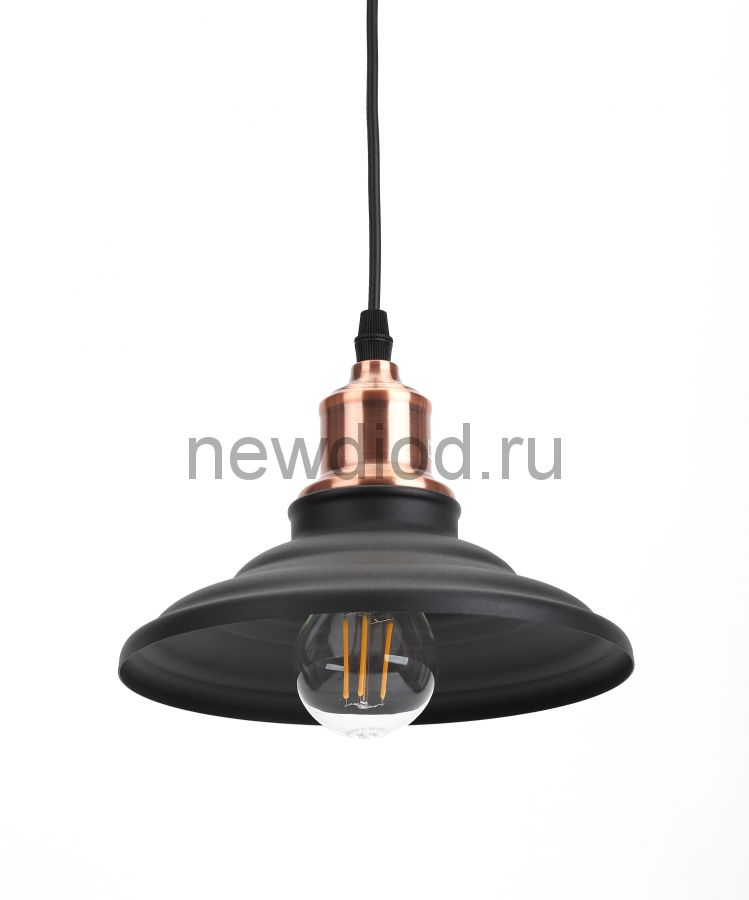 Подвес PL4 BK/RC  ЭРА металл, E27, max 60W, d203 мм, шагрень черный/медь