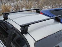 Багажник на крышу Lada Granta, Евродеталь, черные аэродинамические дуги