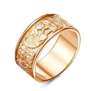 """Позолоченное ажурное кольцо с орнаментом """"Ангелы"""" (арт. 788106)"""