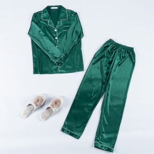 пижама армани шелк зеленый изумруд, рубашка +штаны, модель 720, размер 42,44,46