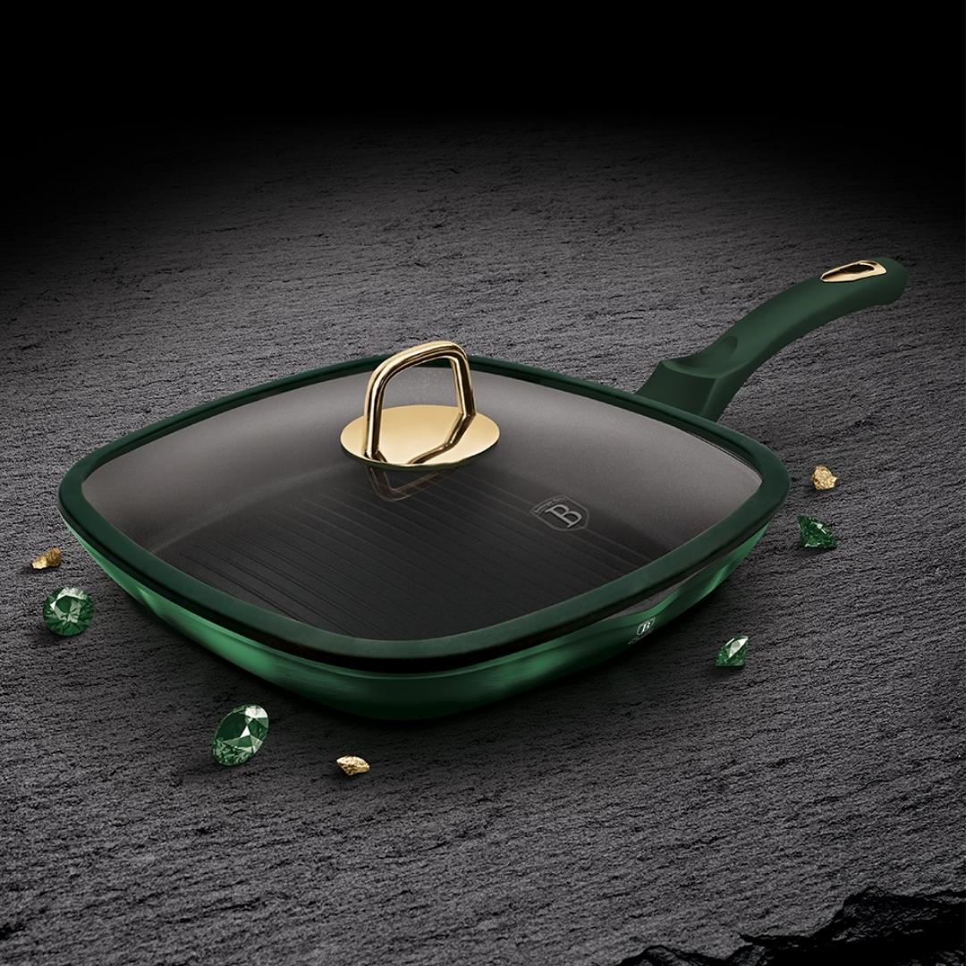 BH-6051 Emerald Collection Metallic Line Гриль-сковорода со стеклянной крышкой 28см