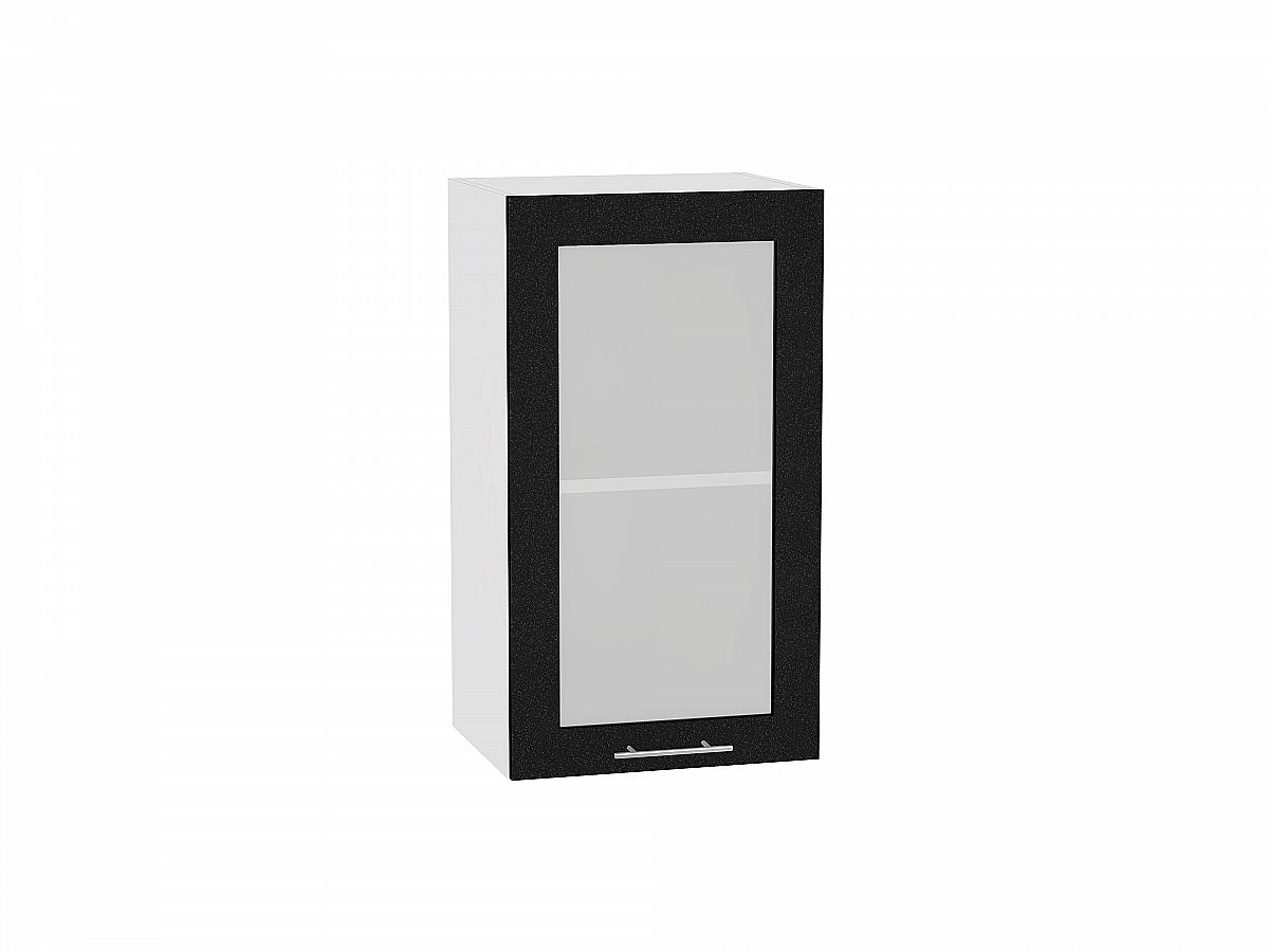 Шкаф верхний Валерия В400 со стеклом (чёрный металлик)