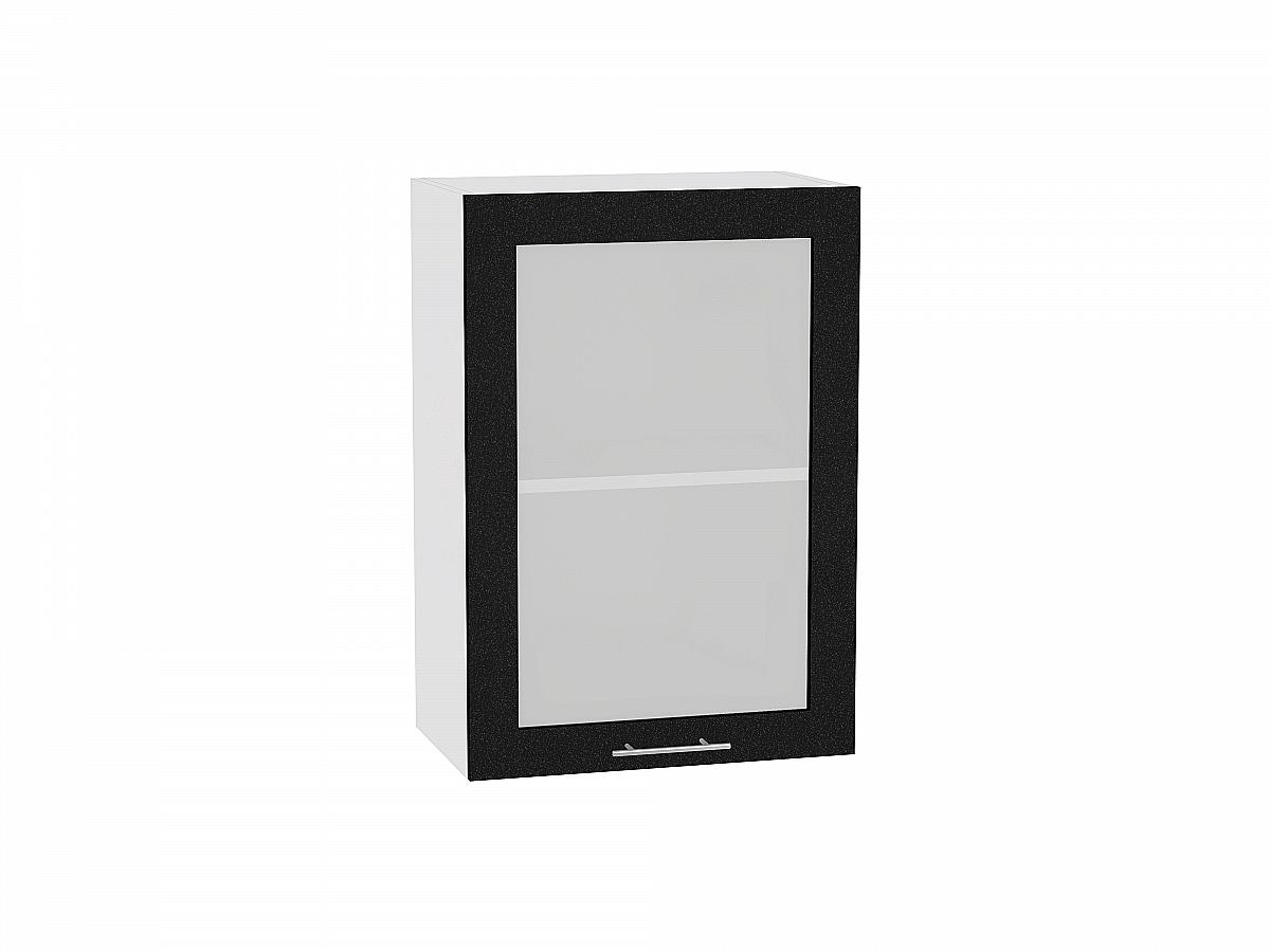 Шкаф верхний Валерия В500 со стеклом (чёрный металлик)