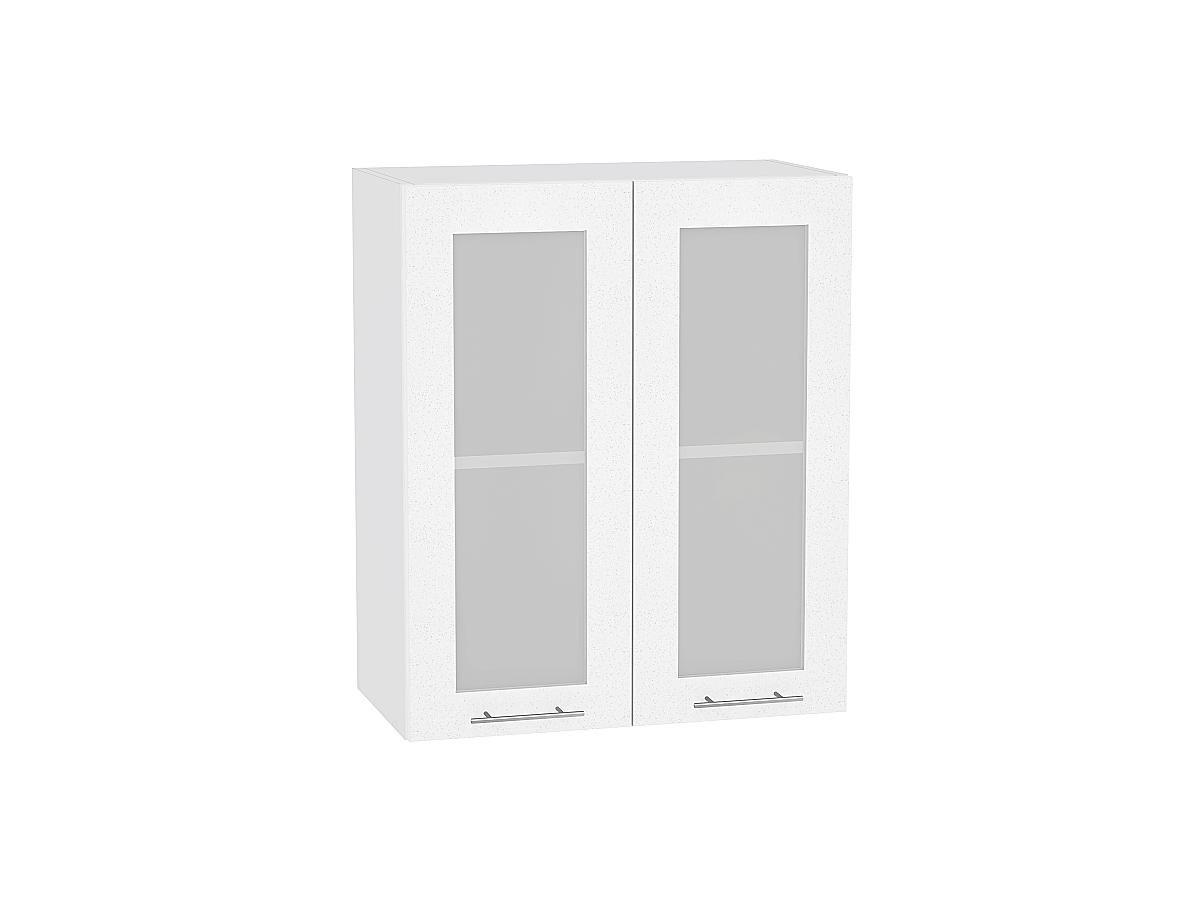 Шкаф верхний Валерия В600 со стеклом (белый металлик)