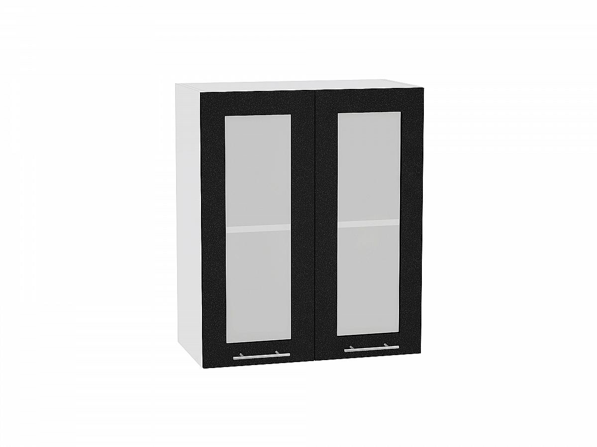 Шкаф верхний Валерия В600 со стеклом (чёрный металлик)