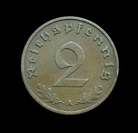 Германия 2 пфеннинга 1938г Третий Рейх, отличные